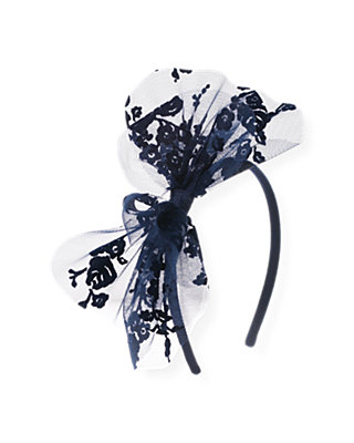 Midnight Floral Floral Flocked Tulle Bow Headband at JanieandJack