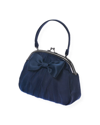 Navy Rose Bow Sateen Purse at JanieandJack
