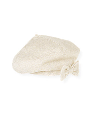 Golden Ivory Metallic Sweater Beret at JanieandJack