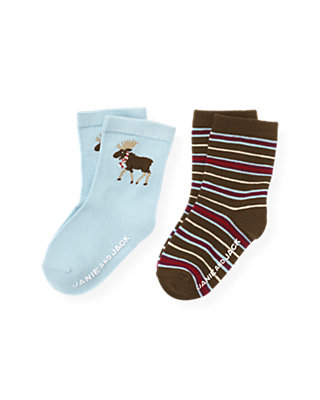Boys Lake Blue/Moose Brown Stripe Moose Stripe Sock Two-Pack at JanieandJack