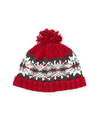 Boys Red Holly Fair Isle Hat at JanieandJack