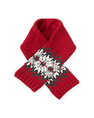 Red Holly Fair Isle Scarf at JanieandJack