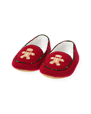Boys Red Holly Gingerbread Sweater Slipper at JanieandJack