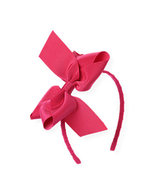 Bright Pink Grosgrain Ribbon Bow Headband at JanieandJack