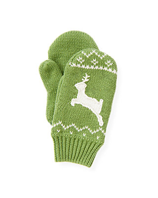 Winter Green Reindeer Fair Isle Mitten at JanieandJack