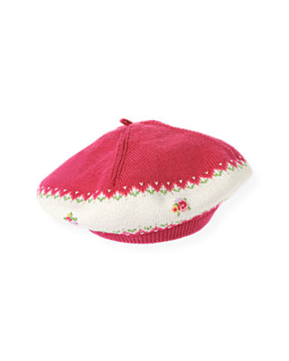 Bright Pink Hand-Embroidered Fair Isle Sweater Beret at JanieandJack