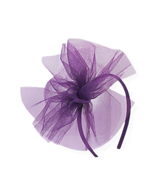 Royal Plum Tulle Pouf Headband at JanieandJack