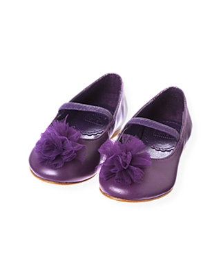 Royal Plum Tulle Rosette Leather Shoe at JanieandJack