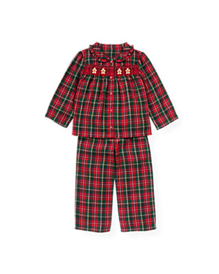 Red Holly Plaid Gingerbread Smocked Plaid Pajama Set at JanieandJack