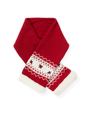 Red Holly Hand-Embroidered Fair Isle Scarf at JanieandJack