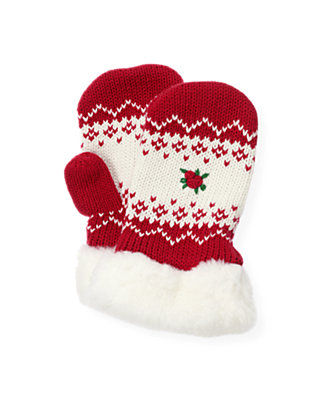 Red Holly Hand-Embroidered Fair Isle Mitten at JanieandJack