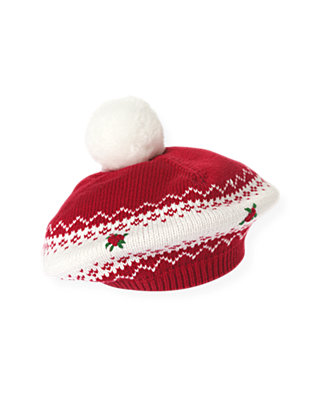 Red Holly Hand-Embroidered Fair Isle Sweater Beret at JanieandJack