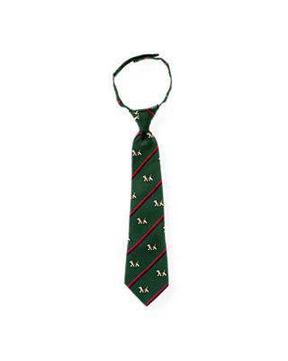 Boys Pine Green Dog Stripe Tie at JanieandJack