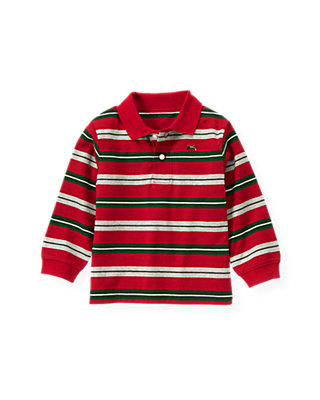 Holiday Red Stripe Stripe Polo Shirt at JanieandJack