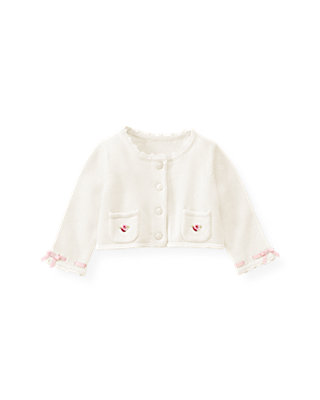 Baby Girl Jet Ivory Satin Ribbon Crop Cardigan at JanieandJack