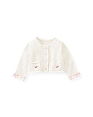 Baby Girl Jet Ivory Satin Ribbon Crop Cardigan at JanieandJack