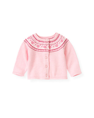 Baby Girl Rose Pink Fair Isle Sweater Cardigan at JanieandJack