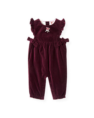 Baby Girl Rich Purple Hand-Embroidered Velveteen Overall at JanieandJack