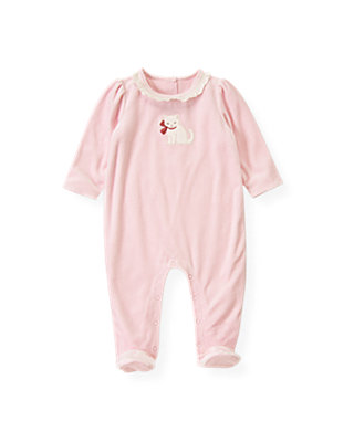 Baby Girl Rose Pink Kitten Velour One-Piece at JanieandJack