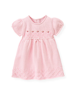 Baby Girl Rose Pink Hand-Embroidered Pointelle Sweater Dress at JanieandJack