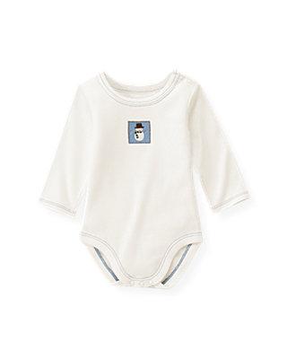 Baby Boy Jet Ivory Snowman Bodysuit at JanieandJack