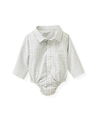 Baby Boy Winter Sky Blue Check Tattersall Shirt Bodysuit at JanieandJack