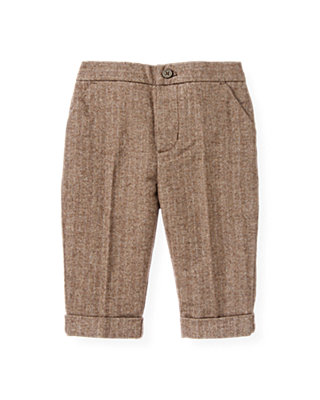 Baby Boy Brown Herringbone Cuffed Herringbone Pant at JanieandJack