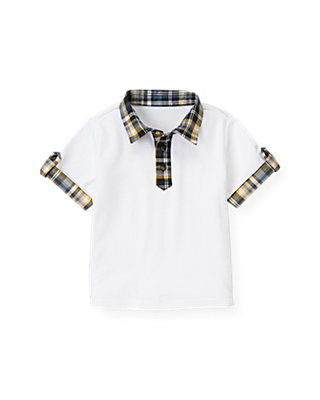 Boys Pure White Plaid Collar Polo Shirt at JanieandJack