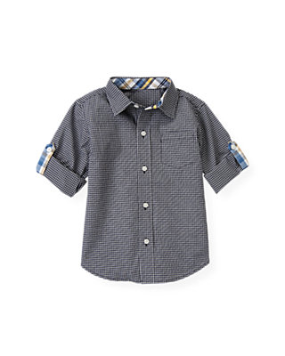 Marine Navy Check Checked Shirt at JanieandJack
