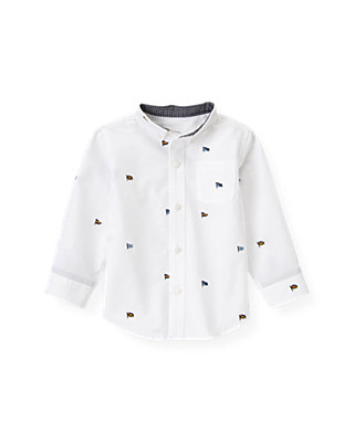 Pure White Embroidered Flag Shirt at JanieandJack