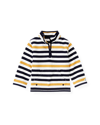 Yellow Sail Stripe Stripe Half-Zip Pullover at JanieandJack