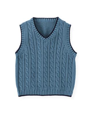 Lighthouse Blue Cable Sweater Vest at JanieandJack
