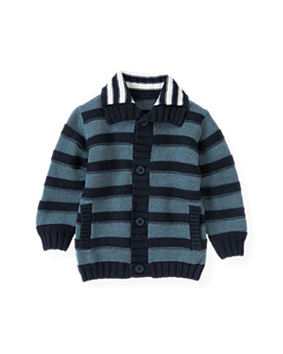 Lighthouse Blue Stripe Stripe Sweater Cardigan at JanieandJack