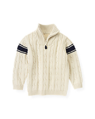 Ivory Cable Stripe Sweater at JanieandJack