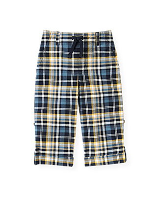 Marine Navy Plaid Plaid Roll Cuff Pant at JanieandJack