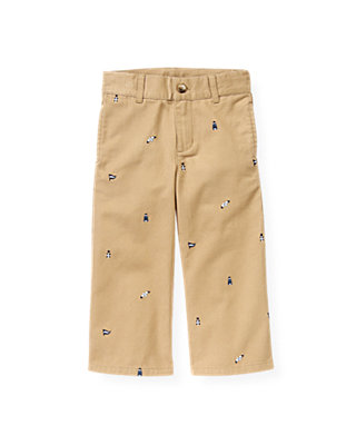 Dark Khaki Flag Embroidered Pant at JanieandJack