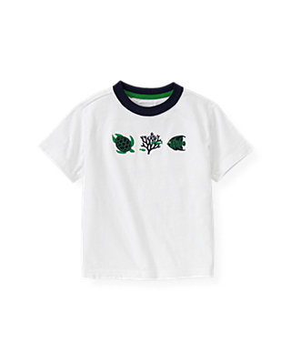 Boys Pure White Turtle Fish Tee at JanieandJack