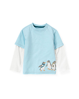 Polar Blue Penguins Double Sleeve Tee at JanieandJack