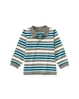 Marine Blue Stripe Stripe Polo Shirt at JanieandJack