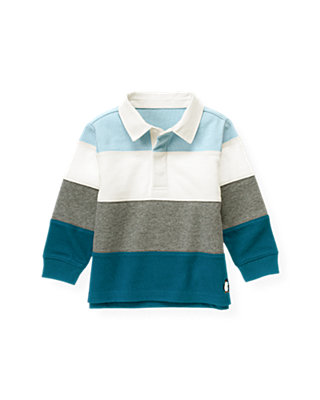 Marine Blue Stripe Pieced Stripe Rugby Shirt at JanieandJack