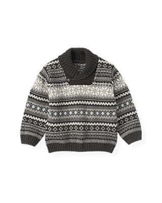 Winter Grey Fair Isle Sweater at JanieandJack