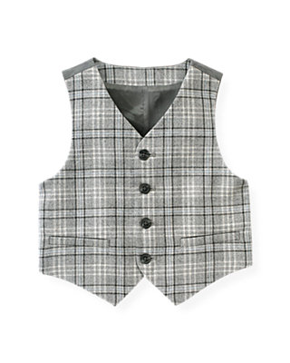 Winter Grey Plaid Plaid Vest at JanieandJack