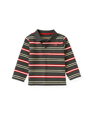 Boys Gray Stone Heather Stripe Stripe Polo Shirt at JanieandJack