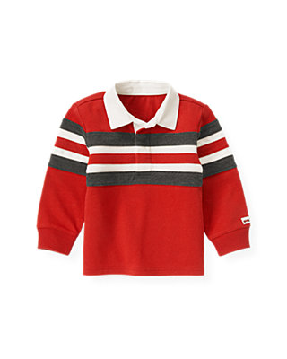 Fire Engine Red Stripe Rugby Shirt at JanieandJack