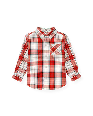 Fire Engine Red Plaid Plaid Shirt at JanieandJack
