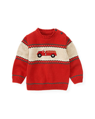 Fire Engine Red Fire Engine Sweater at JanieandJack