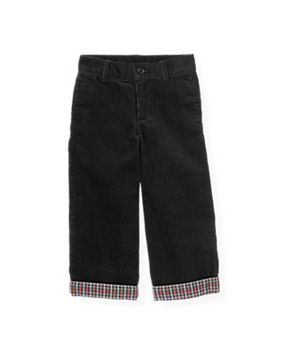 Boys Classic Black Plaid Cuff Corduroy Pant at JanieandJack