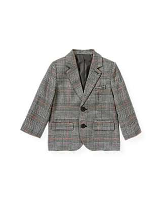 Black Houndstooth Plaid Houndstooth Plaid Suit Blazer at JanieandJack