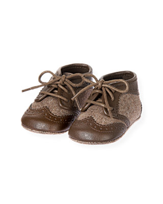 Baby Boy Brown Herringbone Herringbone Crib Shoe at JanieandJack