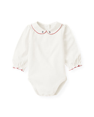 Baby Girl Jet Ivory Anchor Collar Bodysuit at JanieandJack